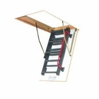 Segment loft ladder LWM-K with metal handrail